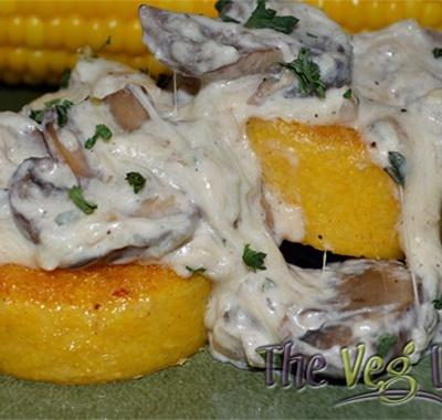 Polenta with Mushroom Cheese Sauce {Vegetarian}