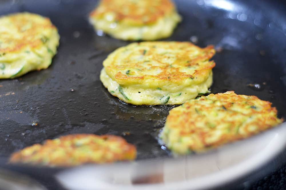 Frying the Zucchini Chickpea Fritters