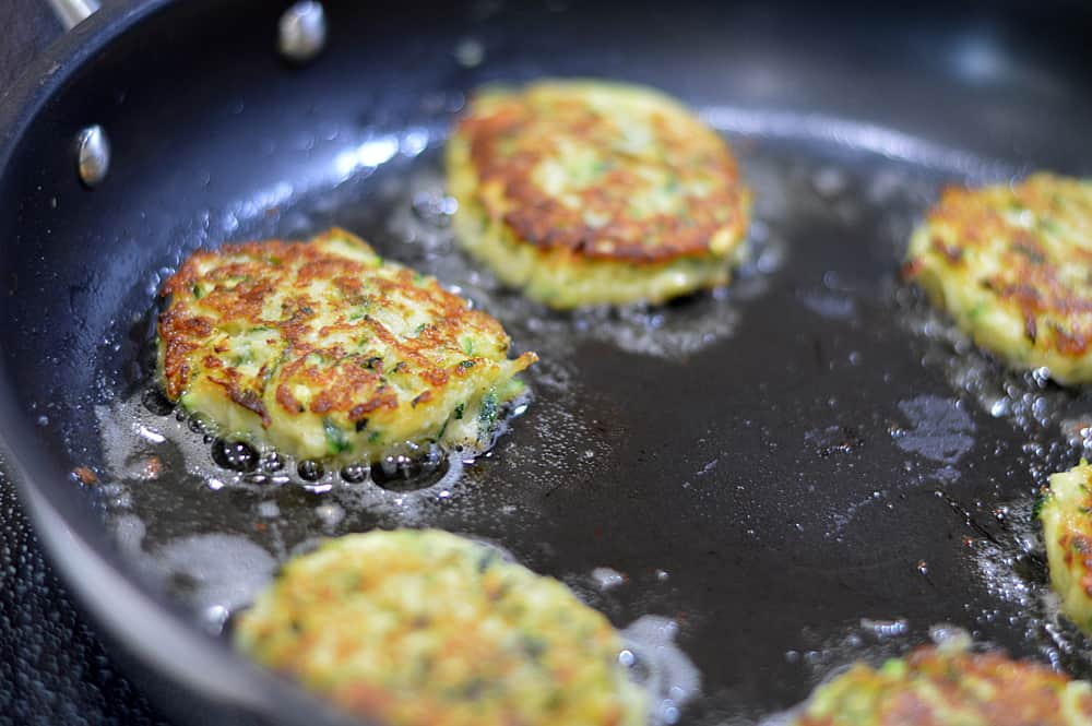 Pan frying the Zucchini Chickpea Fritters