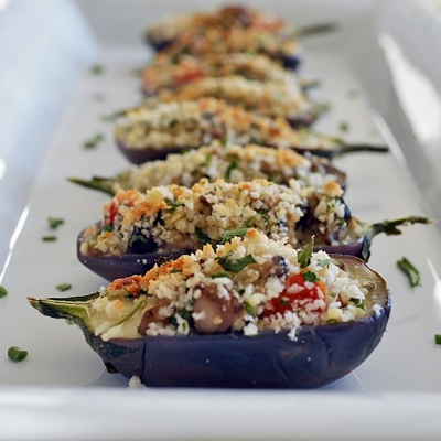 Couscous Stuffed Mini Eggplant {Vegan}