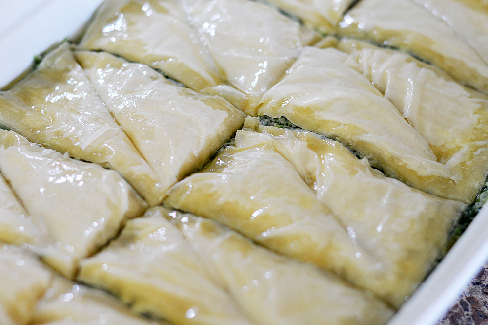 Scored phyllo for Spanakopita {Vegan}