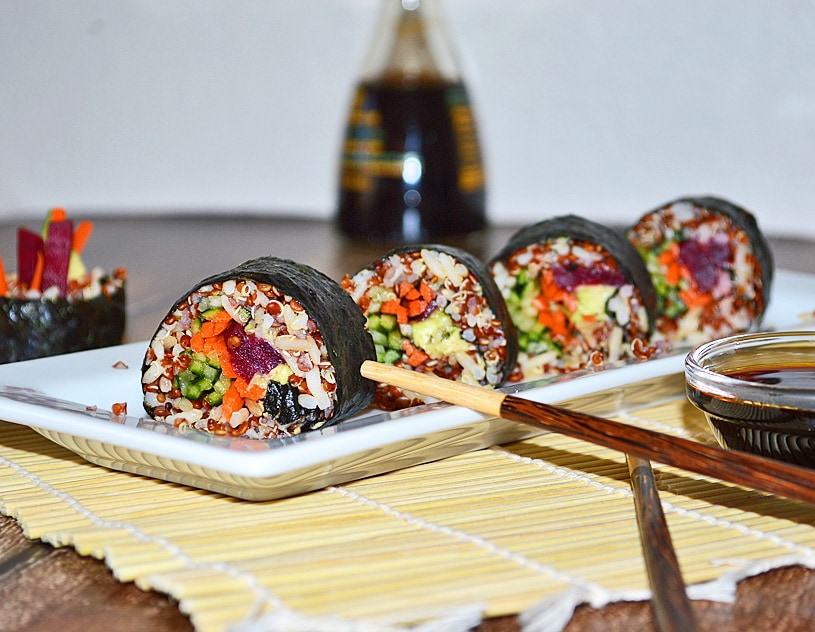 Rainbow Vegetable Sushi Rolls - TheVegLife