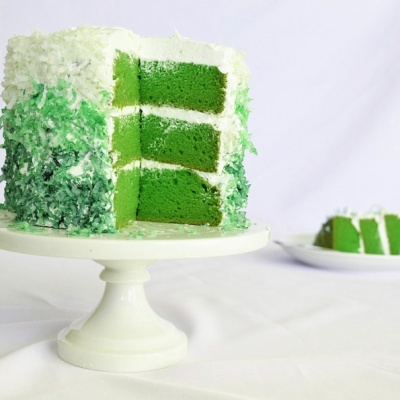 St. Patrick's Day Layer Cake with Coconut {Vegan}