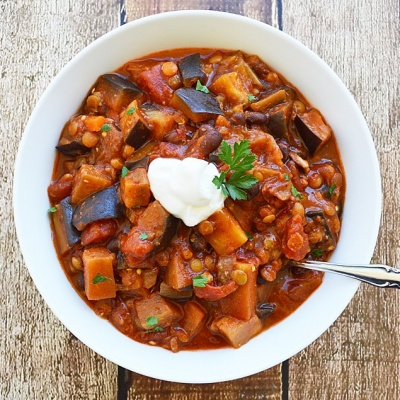 Lentil, Black Bean & Eggplant Chili {Vegan}