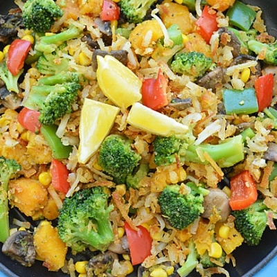 Veggie Hashbrown Skillet {Vegan}