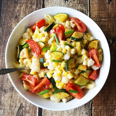 Penne with Grilled Creamed Corn and Zucchini {Vegan}