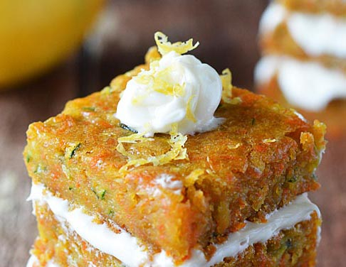 Carrot Zucchini Bars with Citrus Frosting {Vegan} - TheVegLife