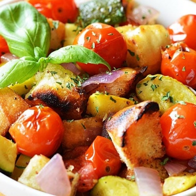 Roasted Ratatouille Panzanella {Vegan}
