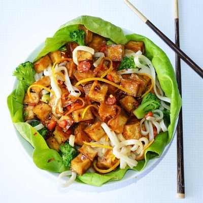 Orange Peel Crispy Tofu Lettuce Wraps {Vegan}