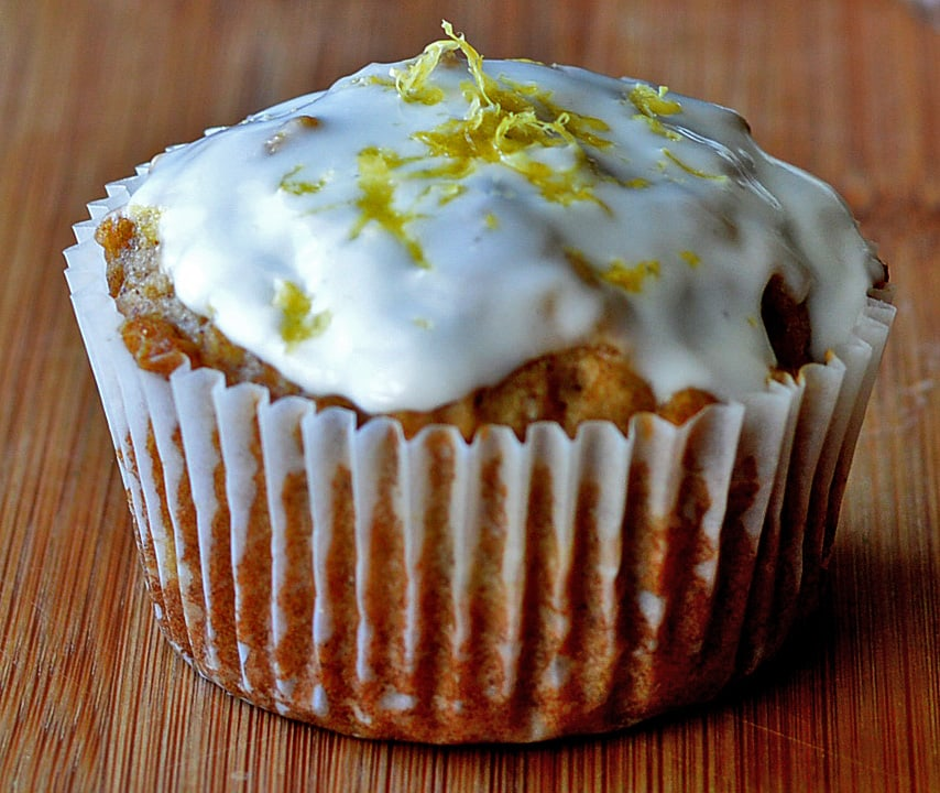 Apple Cupcakes with Creamy Lemon Yogurt Frosting