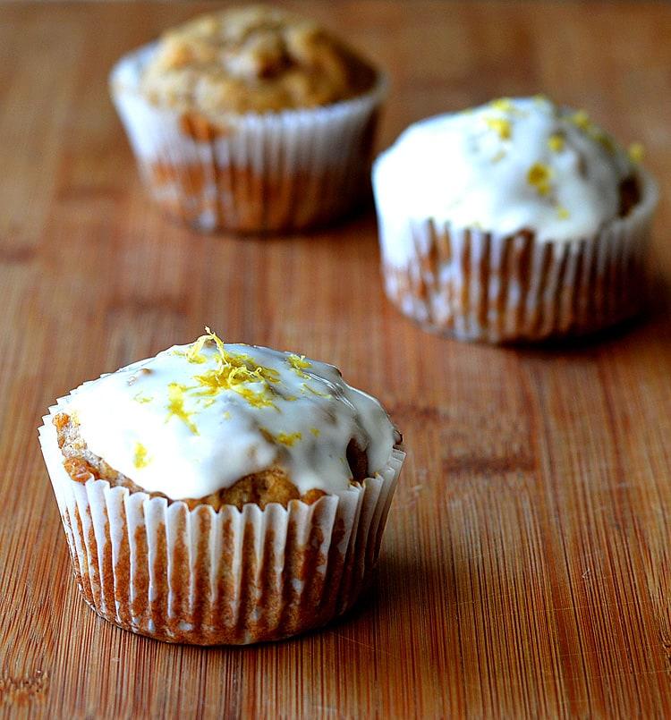 Apple Cupcakes with Creamy Lemon Yogurt Frosting