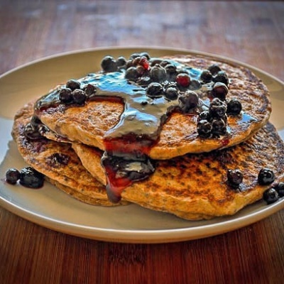 Lemon Chia Whole Wheat Pancakes {Vegan}
