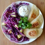 Sweet Potato & Caramelized Onion Pierogi With Sauteed Red Cabbage & Apples