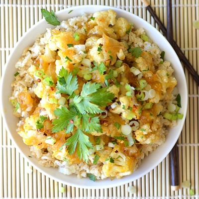 Baked Orange Cauliflower {Vegan}