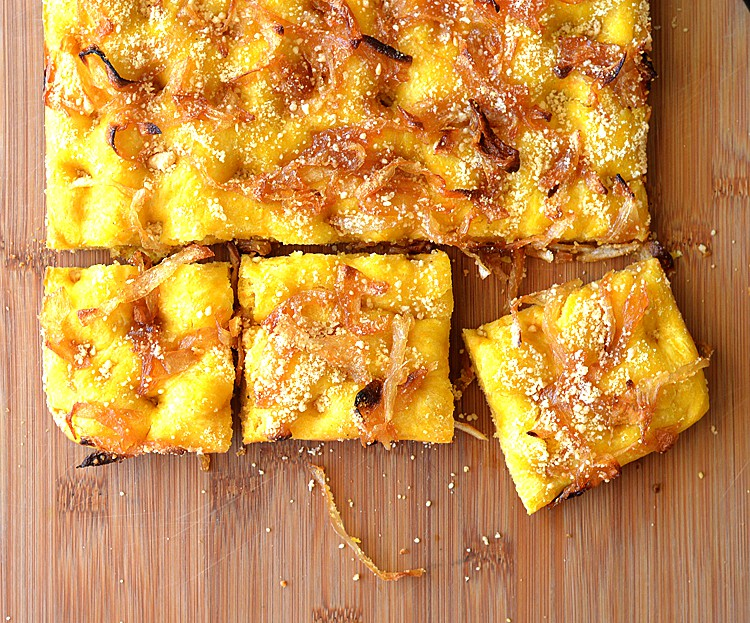 Butternut Squash Focaccia with Caramelized Onions