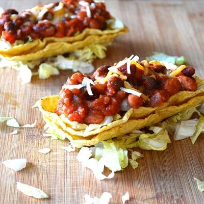 Vegan Three Bean Chili Tacos