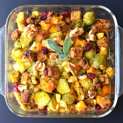 Butternut, Brussel Sprout & Cranberry Stuffing