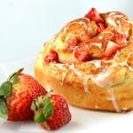Strawberry Cinnamon Roll with Lemon Glaze