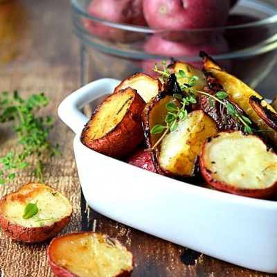 Roasted Potatoes with Lemon, Rosemary & Thyme {Vegan}