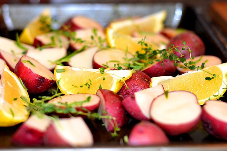 Roasted Potatoes with Lemon, Rosemary & Thyme