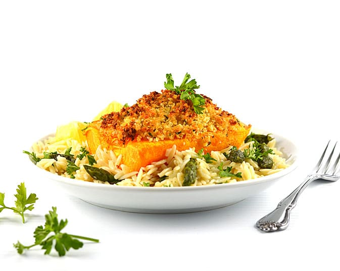 Butternut Squash Gratin with Lemon Orzo