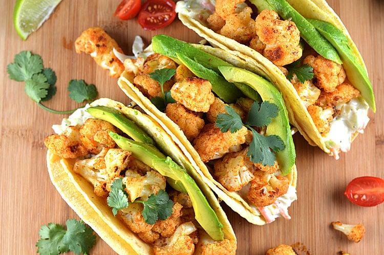 Cauliflower Tacos with Creamy Lime Slaw