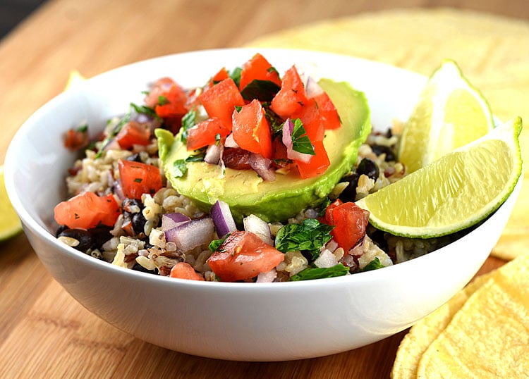 Avocado Rice Bowls with Black Beans & Tomato Salsa