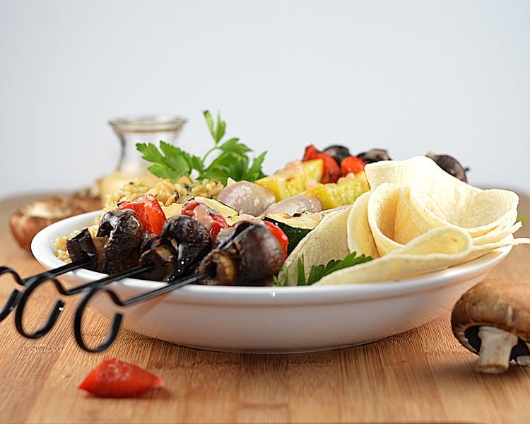 Grilled Vegetable Skewers With Vegan Lemon Beurre Blanc