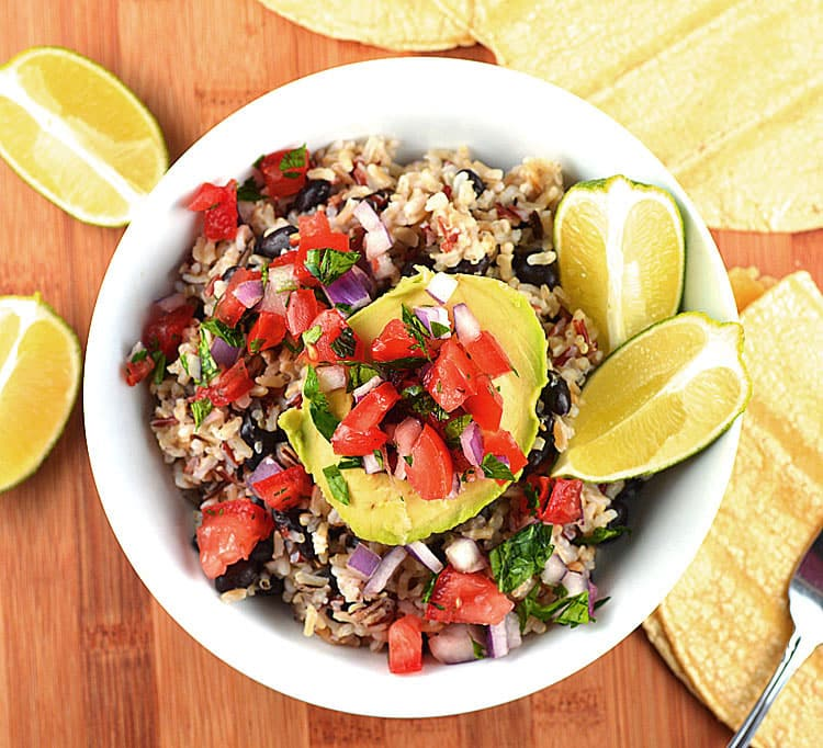 Avocado Rice Bowls with Black Beans & Tomato Salsa