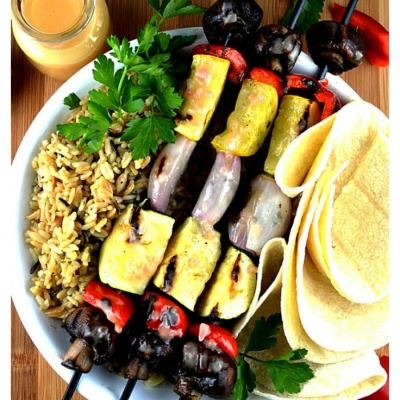 Grilled Vegetable Skewers with Vegan Lemon Beurre Blanc Sauce