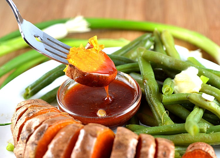 Roasted Sweet Potatoes with Tangy Plum Sauce