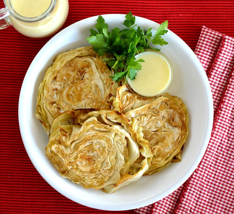 Roasted Cabbage Steaks with Mustard Dipping Sauce