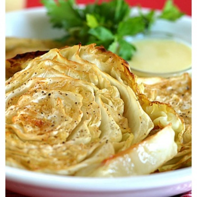Roasted Cabbage Steaks with Mustard Dipping Sauce {Vegan}