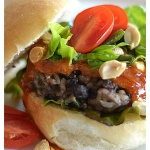 Black Bean Burger with a Chili Peanut Sauce {Vegan}