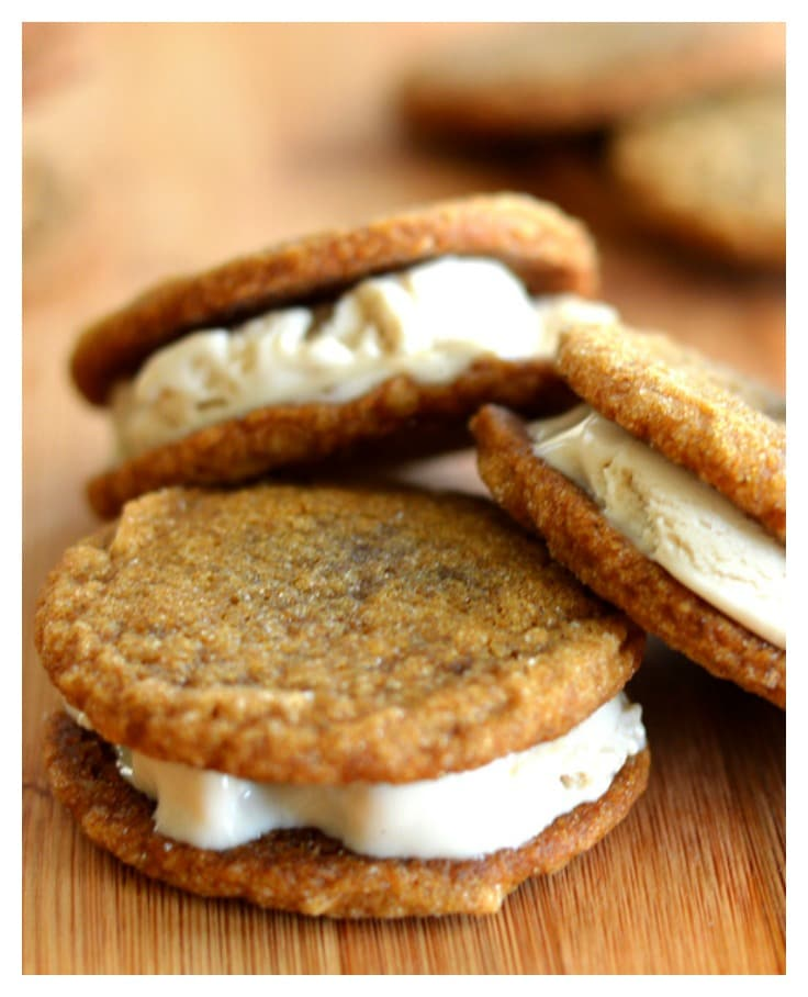 Ginger Cookie Ice Cream Sandwiches {Vegan} - TheVegLife