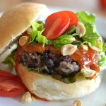 Black Bean Burger with a Chili Peanut Sauce