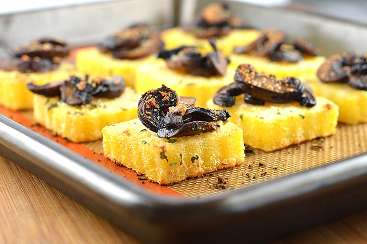 Roasted Polenta Squares with Wild Mushrooms