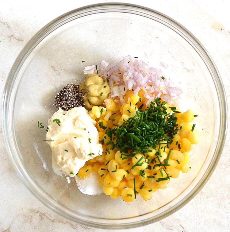 Golden Hominy Salad Tartines