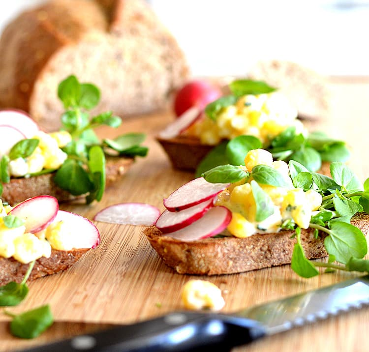 Golden Hominy Salad Tartines