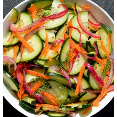 Cucumber Salad with Pickled Onions