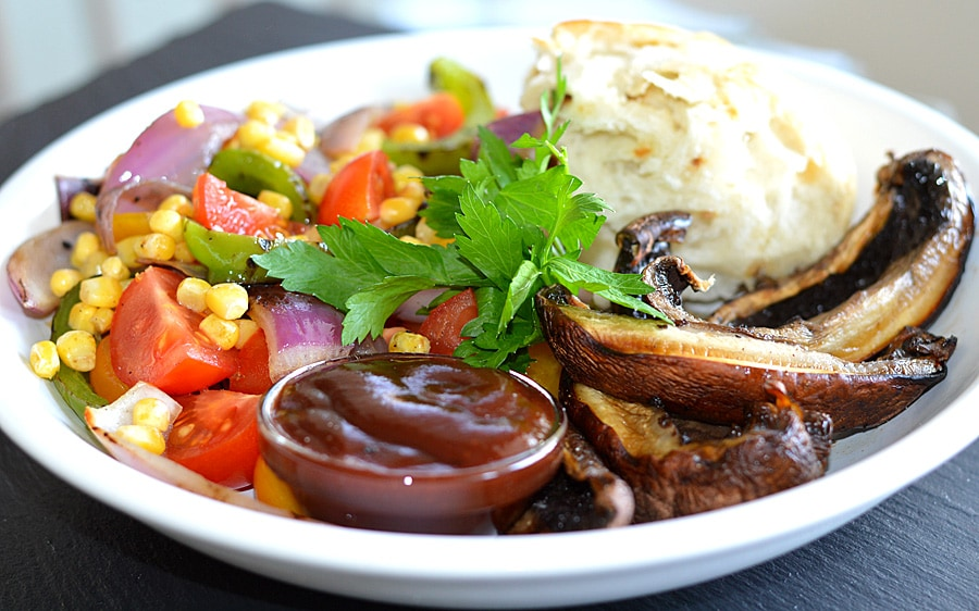 Grilled Portobello Steak with Tomato Corn Relish