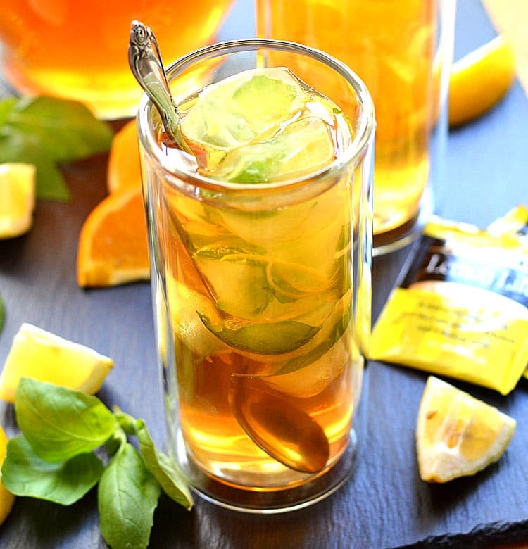 Sparkling Basil Lemonade Iced Tea
