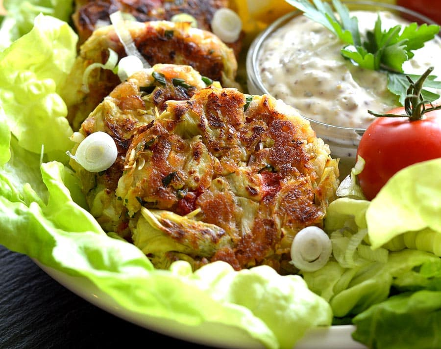 Vegan Artichoke Cakes with Homemade Tartar Sauce