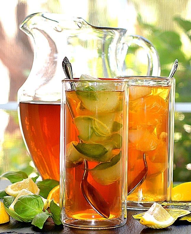Sparkling Basil Lemonade Iced Tea