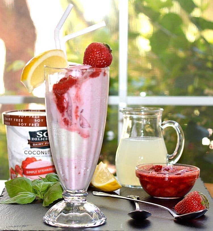 SO Delicious Dairy Free Strawberry Lemonade Float