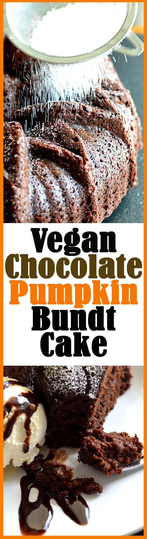 Vegan Chocolate Pumpkin Bundt Cake