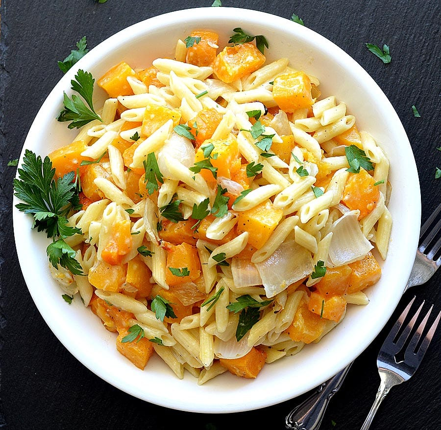 Penne with Roasted Butternut Squash & Goat Cheese