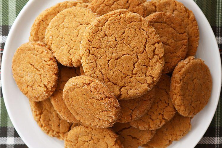 Overhead shot of plate of Soft Pumpkin Ginger Cookies