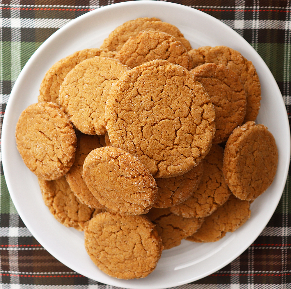 Overhead shot of plate of Soft Pumpkin Ginger Cookies