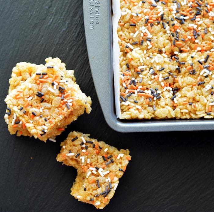 VEGAN Pumpkin Spice Rice Krispie Treats
